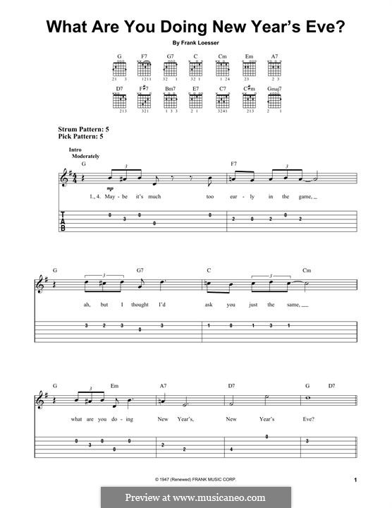 What are You Doing New Year's Eve?: For guitar with tab by Frank Loesser