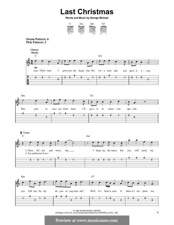 Last Christmas (Wham!) by G. Michael - sheet music on MusicaNeo
