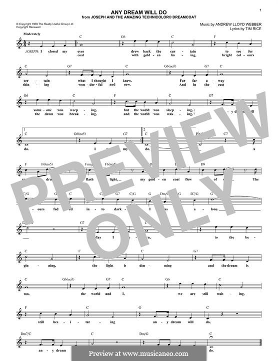 Any Dream Will Do: Melody line by Andrew Lloyd Webber