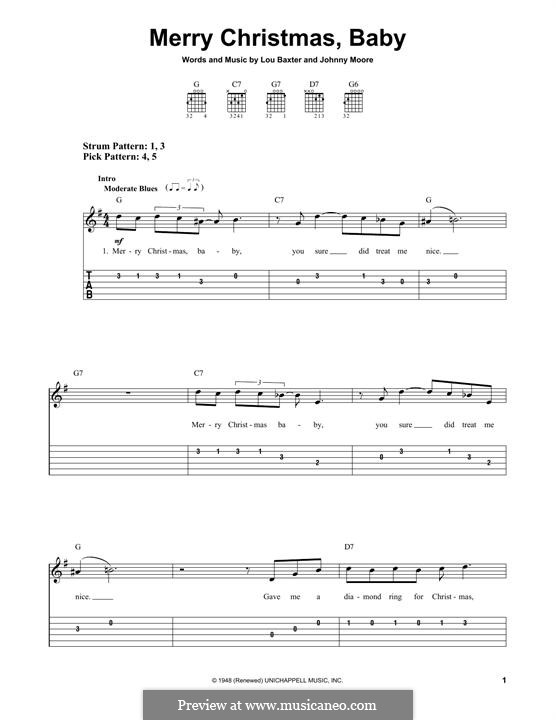 Merry Christmas, Baby: For guitar with tab by Johnny Moore, Lou Baxter