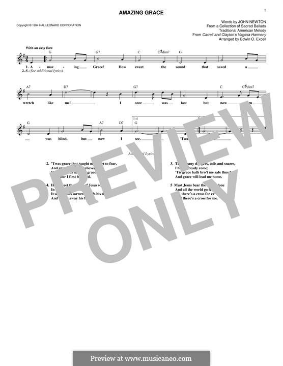 Amazing Grace (Printable Scores): Melody line by folklore