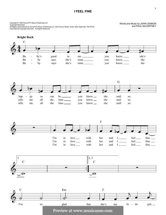 I Feel Fine (The Beatles): Melody line by John Lennon, Paul McCartney