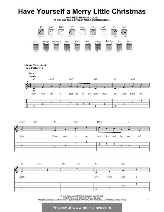 have yourself a merry little christmas for guitar with tab by hugh martin ralph - Have Yourself A Merry Little Christmas Tab