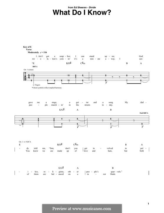 What Do I Know?: For guitar with tab by Ed Sheeran, John McDaid, Foy Vance