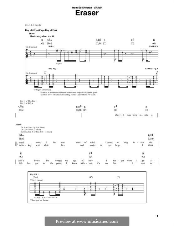 Eraser: For guitar with tab by Ed Sheeran, John McDaid