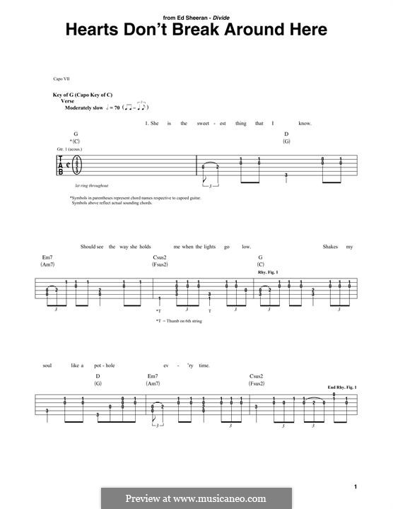Hearts don't Break Around Here: For guitar with tab by Ed Sheeran, John McDaid