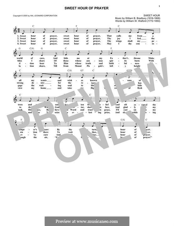 Sweet Hour of Prayer: Melody line by William Batchelder Bradbury