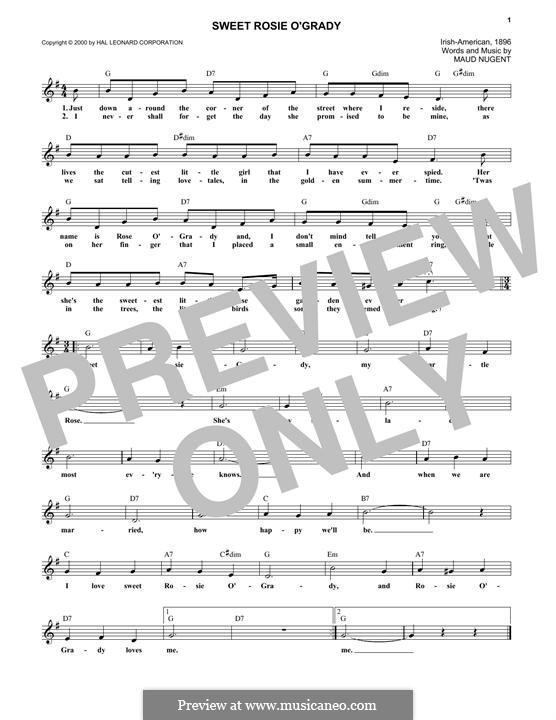 Sweet Rosie O'Grady: Melody line by Maude Nugent