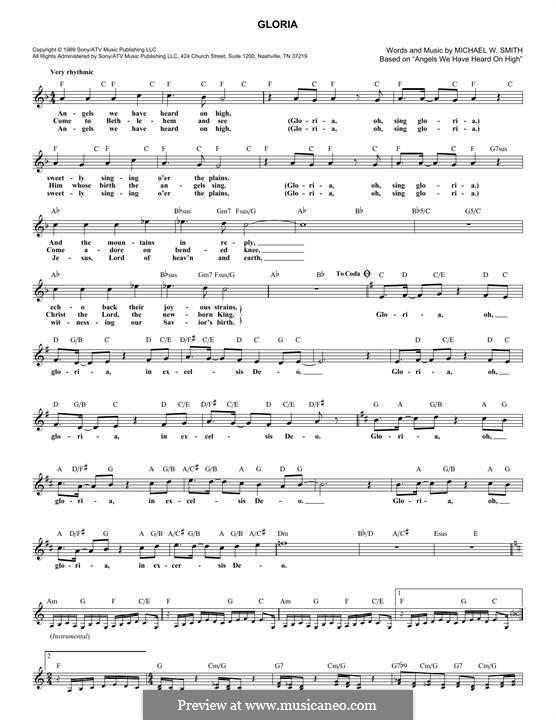 Gloria: Melody line by Michael W. Smith