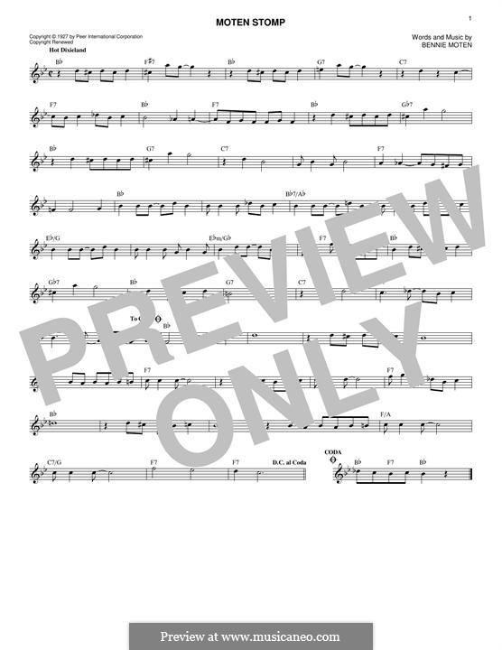 Moten's Swing (Moten and Moten): Melody line by Bennie Moten