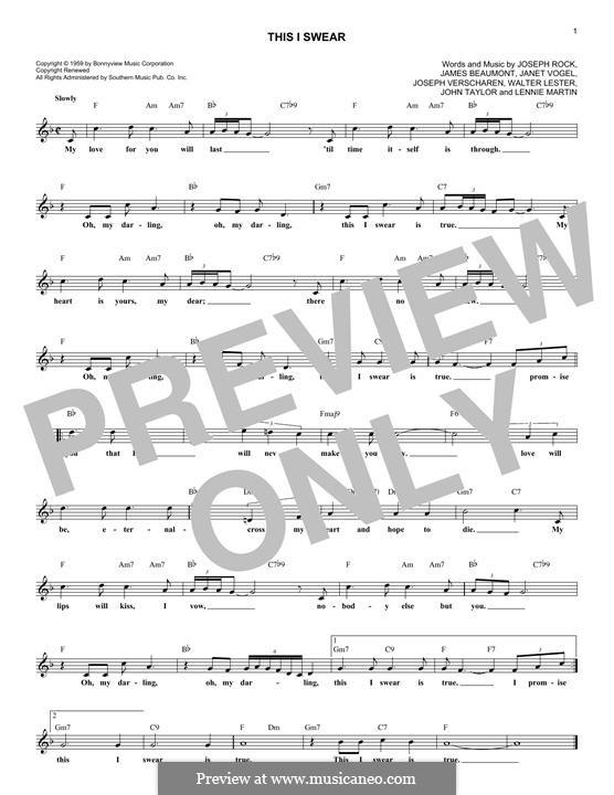 This I Swear (Skyliners): Melody line by Joseph Rock, James Beaumont, Janet Vogel, John Taylor, Joseph Verscharen, Lennie Martin, Walter Lester