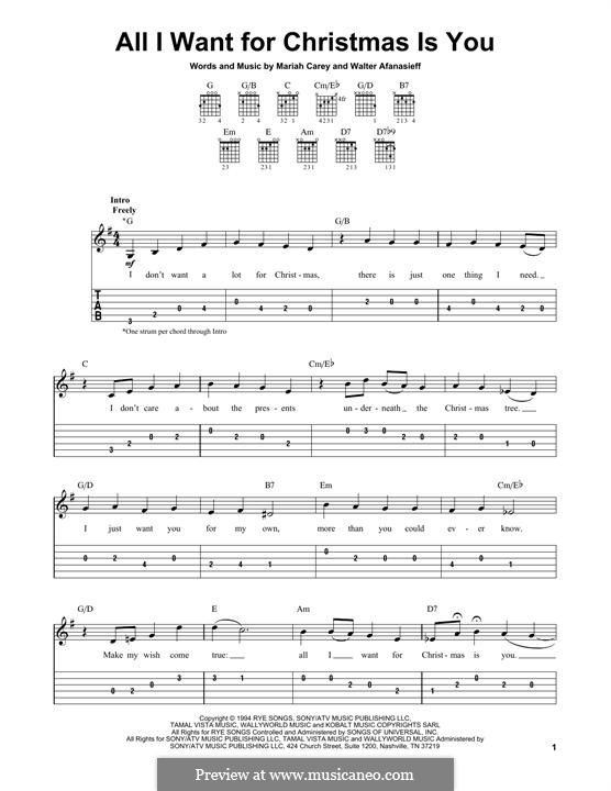 All I Want for Christmas is You, instrumental version: For guitar with tab by Mariah Carey, Walter Afanasieff