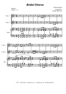 Bridal Chorus: Duet for C-instruments - piano accompaniment by Richard Wagner