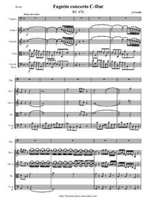 Concerto for Fagotto and Strings in C Major, RV 470: Score and parts by Antonio Vivaldi