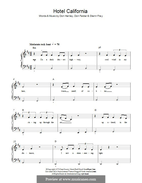 Hotel California (The Eagles): For piano by Don Felder, Don Henley, Glen Frey