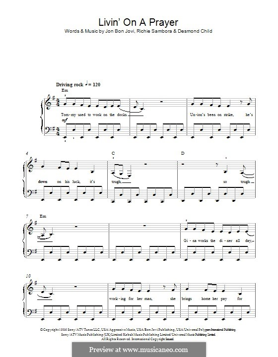 livin on a prayer piano pdf
