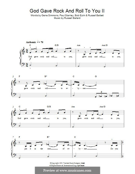 God Gave Rock and Roll To You: For piano (KISS) by Russell Ballard