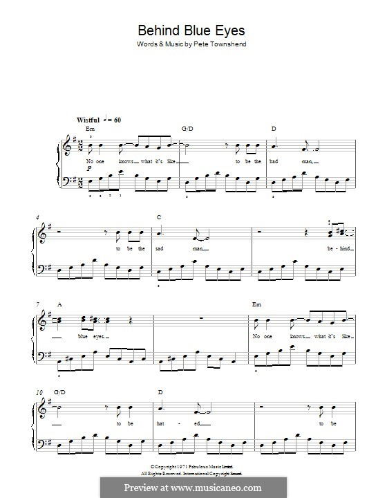Behind Blue Eyes (Limp Bizkit): For piano by Peter Townshend