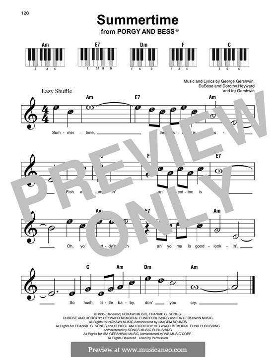 Summertime: Melody line by George Gershwin