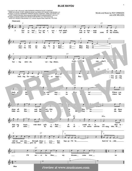 Blue Bayou (Linda Ronstadt) by J. Melson - sheet music on MusicaNeo
