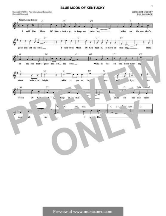 Blue Moon of Kentucky: Melody line by Bill Monroe