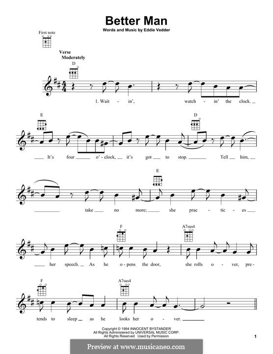 Better Man (Pearl Jam): For ukulele by Eddie Vedder