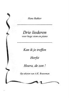 Drie Liederen voor hoge stem en piano: Drie Liederen voor hoge stem en piano by Hans Bakker