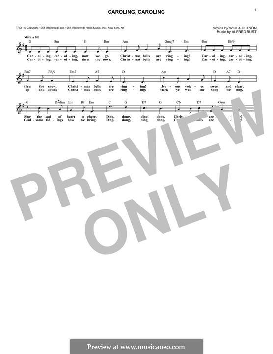 Caroling, Caroling (Nat King Cole): Melody line by Alfred Burt