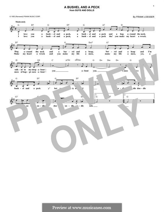 A Bushel and a Peck (from Guys and Dolls): Melody line by Frank Loesser