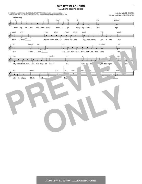 Bye Bye Blackbird: Melody line by Ray Henderson