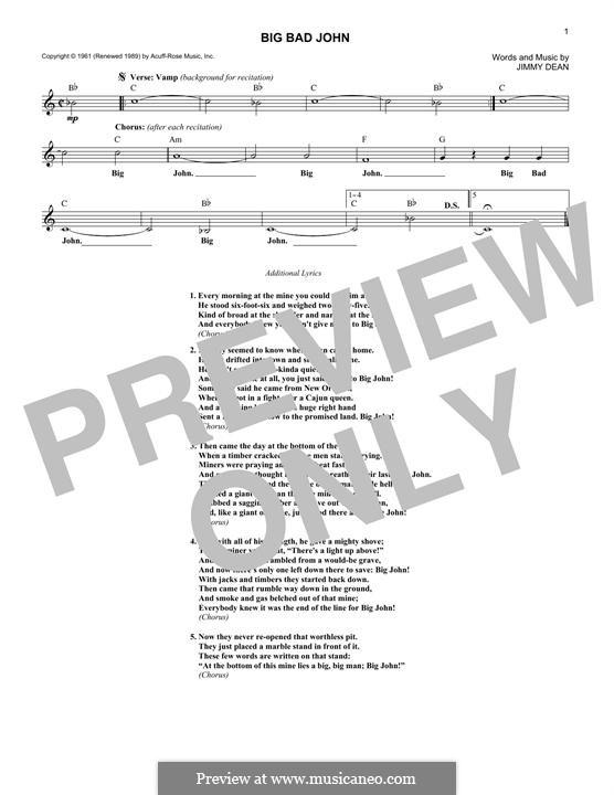 Big Bad John: Melody line by James A. Dean