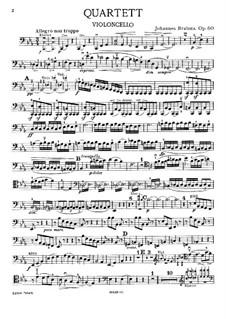 Piano Quartet No.3 in C Minor, Op.60: Cello parts by Johannes Brahms