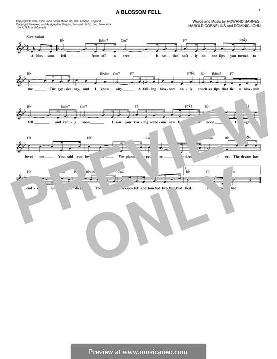 A Blossom Fell: Melody line by Dominic John, Harold Cornelius, Howard Barnes