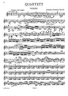 Piano Quartet No.3 in C Minor, Op.60: Violin part by Johannes Brahms
