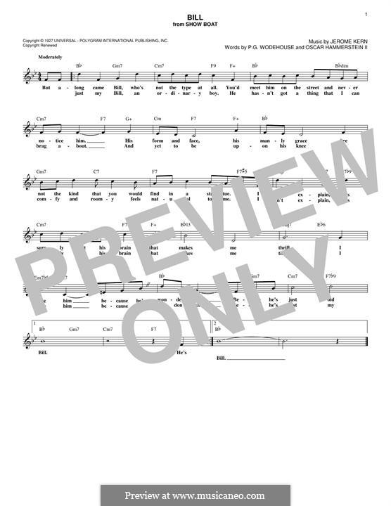 Bill: Melody line by Jerome Kern
