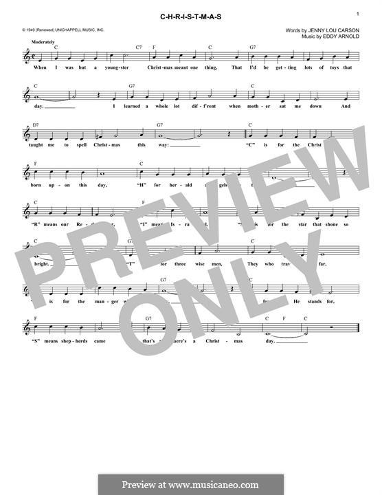 C-H-R-I-S-T-M-A-S (Perry Como): Melody line by Eddy Arnold