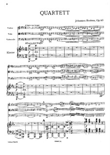 Piano Quartet No.3 in C Minor, Op.60: Full score by Johannes Brahms