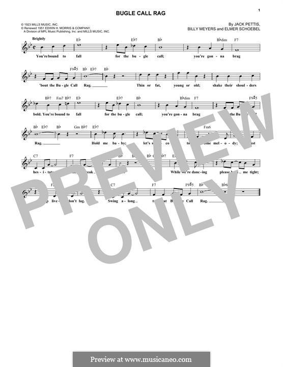 Bugle Call Rag (Benny Goodman): Melody line by Billy Meyers, Elmer Schoebel, Jack Pettis