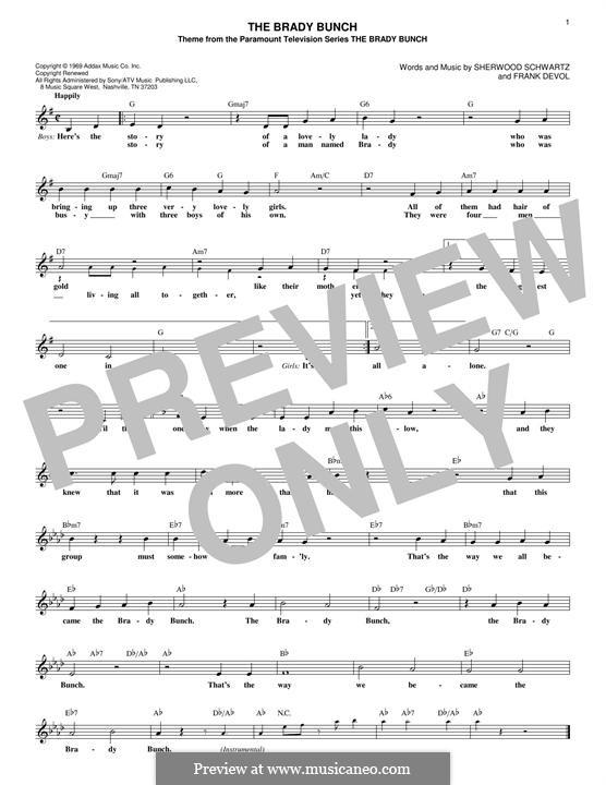 The Brady Bunch: Melody line by Frank Devol