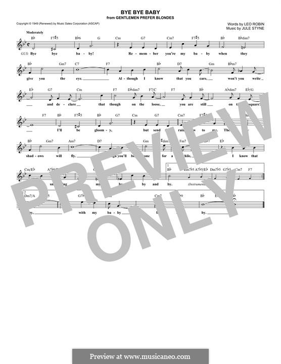 Bye Bye Baby: Melody line by Jule Styne