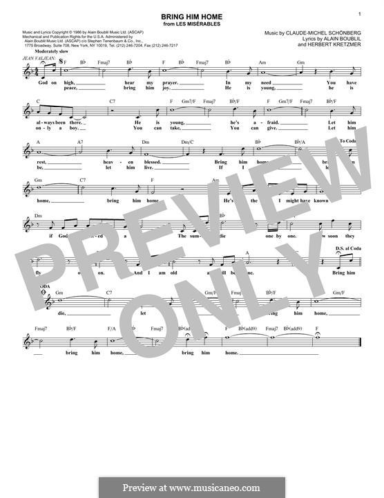 Bring Him Home: Melody line by Claude-Michel Schönberg