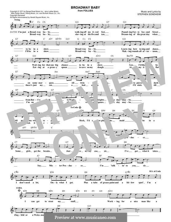 Broadway Baby: Melody line by Stephen Sondheim