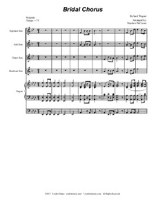 Bridal Chorus: For saxophone quartet - organ accompaniment by Richard Wagner