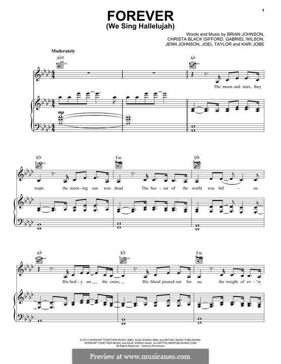 Forever (We Sing Hallelujah): For voice and piano (or guitar) by Brian Johnson, Kari Jobe, Christa Black Gifford, Gabriel Wilson, Jenn Johnson, Joel Taylor