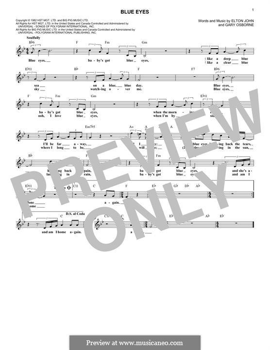 Blue Eyes: Melody line by Elton John, Gary Osborne