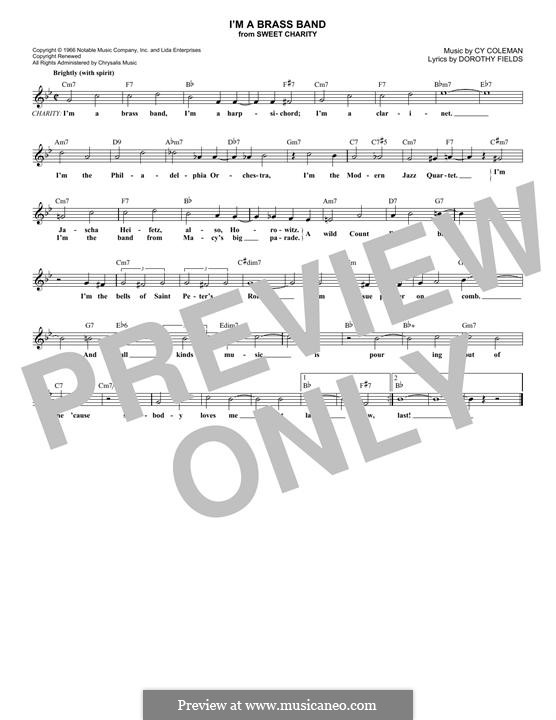I'm a Brass Band: Melody line by Cy Coleman