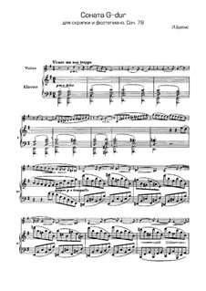 Sonata for Violin and Piano No.1 in G Major, Op.78: Score, solo part by Johannes Brahms