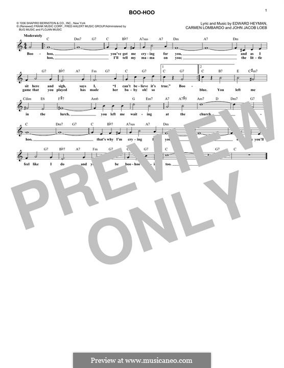 Boo-Hoo: Melody line by Carmen Lombardo, John Jacob Loeb