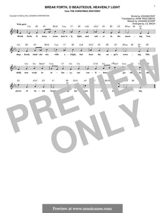 Break Forth, o Beauteous, Heavenly Light: Melody line by Johann Schop