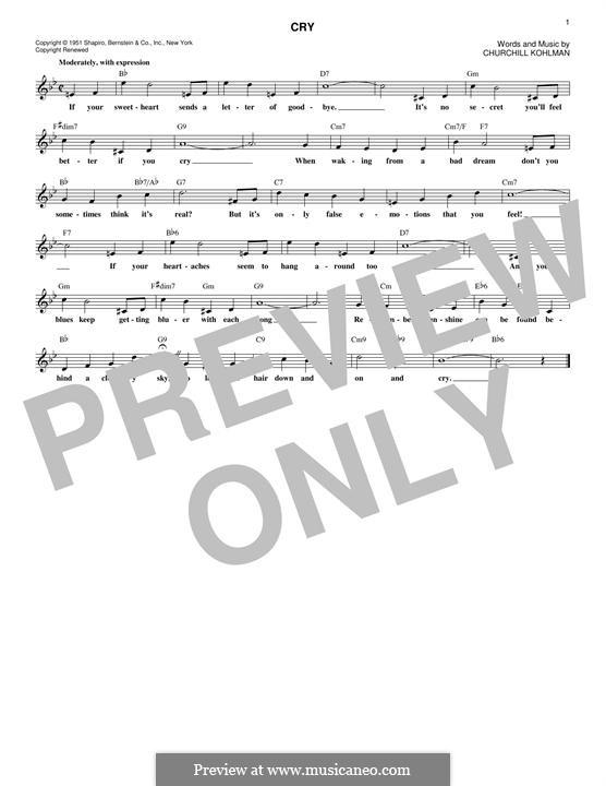 Cry: Melody line by Churchill Kohlman